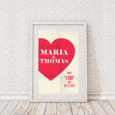 Personalised love heart framed print