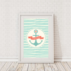 Personalised children's nautical anchor framed print