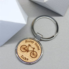 Personalised Wooden Bicycle Key Ring With Front Engraving
