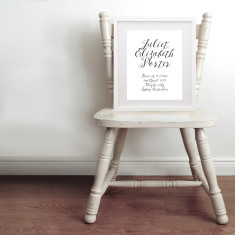 Personalised classic calligraphy name & birth art print