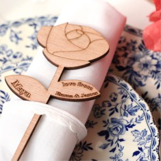Personalised wooden flower wedding favours
