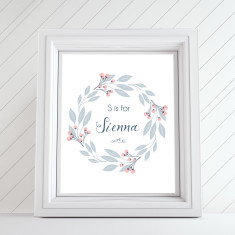 Vintage floral personalised name art print