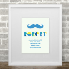 Personalised moustache boys name & birth art print