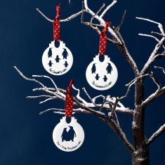 Personalised family penguin bauble