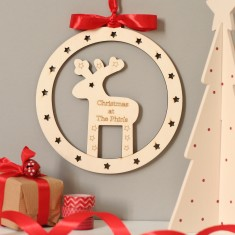 Personalised Rudolf the Reindeer Christmas door or wall wreath