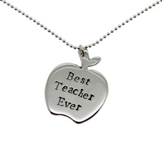 Personalised sterling silver apple necklace