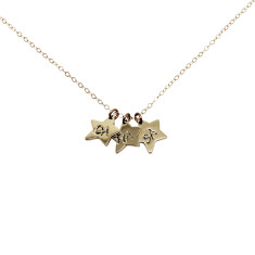 Personalised 9ct gold little star charms necklace