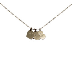 Personalised 9ct gold little heart charms necklace