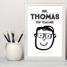 Personalised teacher caricature art print