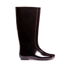 Black shine rubber wellies