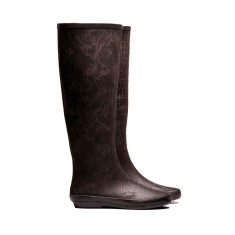 Peta black snakey rubber wellies