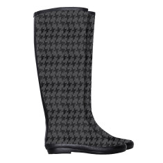 Peta hounds-tooth rubber wellies