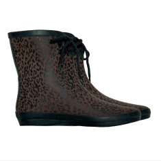 Peta rubber leopard choc mini wellies