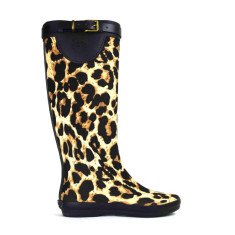 Peta strap leopard tall rubber wellies
