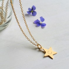 Personalised Gold Tiny Star Initial Necklace