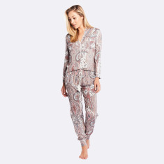 Harmony Long Pj Set  Grey / Pink