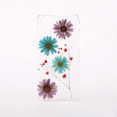Pressed purple & blue flower phone case for iPhone & Samsung