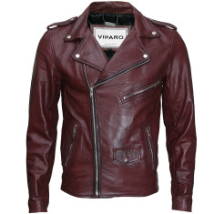 Oxblood red lambskin biker leather jacket
