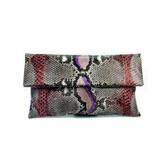 Rust brown and lilac motif python leather classic foldover clutch bag