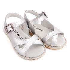Kids' cross over leather sandals in silver