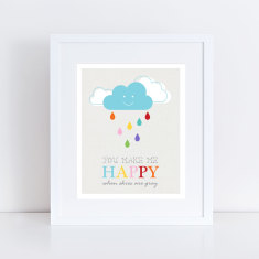Happy when skies are grey art print