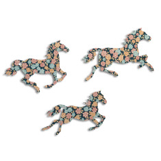 Blue Cottage Garden Galloping Horses