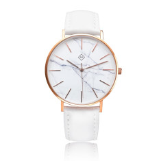 Engraved marble face women's watch with leather band (white & rose gold)