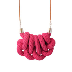 Beachcomber knot necklace in crimson