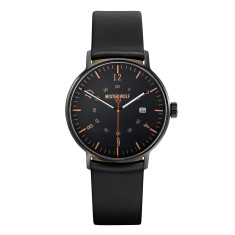 Black 39mm case with black leather band watch