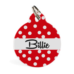 Personalised pet ID tag standard (red spots)