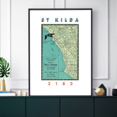 Custom Melbourne suburbs vintage print (various sizes)