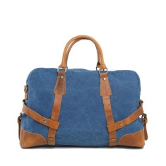 Canvas Travel Duffle Bag With Leather Handle Blue