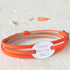 Women's personalised leather wrap & oval plate bracelet (various colours)