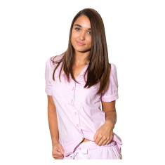 Pink herringbone women's short sleeve shirt