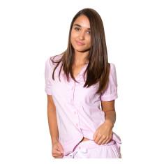 Pink herringbone women's short sleeve shirt