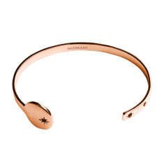 Destiny Open Cuff Bangle in Rose Gold with Black Spinel