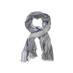 My Softest Cotton Scarf: Blue Grey Fury With Tassels