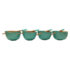 Rice bowls with chopsticks in blue (set of 4)