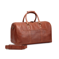 TheCultured Leather Duffle Weekender Bag In Tan