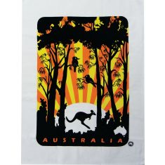 Kookaburra sunset tea towel