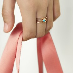 Set of three Lola rings 18k rose gold vermeil