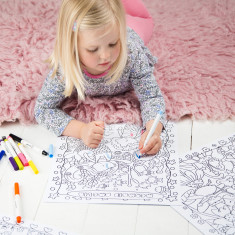 Personalised girl's colouring poster set
