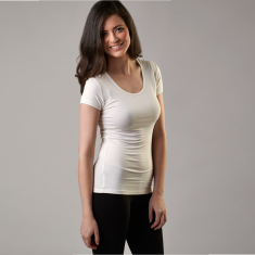 Bamboo scoop t-shirt in white