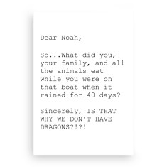 Dear Noah, sincerly dragons A5 canvas