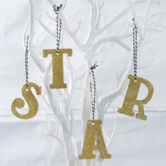Gold Sparkle Letter Hanging Decorations