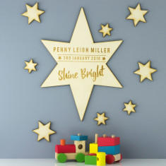 Personalised Shine Bright Star Wooden Sign