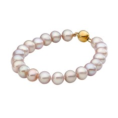 Pink pearl bracelet with 9ct yellow gold clasp