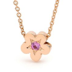 Rose gold and pink sapphire baby blossom necklace