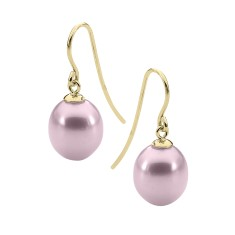 Pink pearl yellow gold drop earrings