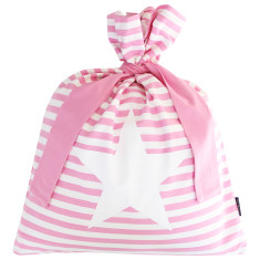 Pink classic stripe Santa sack with star design